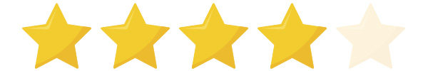 5 gele sterren op een rij om een eiwitshake te beoordelen